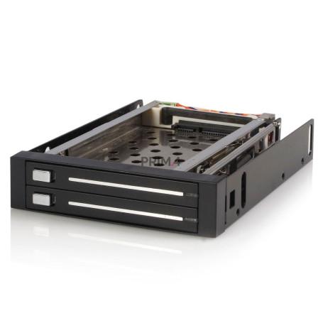 """Mobile Rack per Due Hard Disk 2.5"""" SATA Hot Swap HDD Pannello Cassetto Estraibile"""